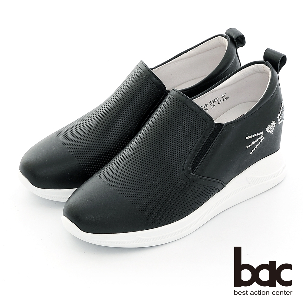 【bac】休閒享樂貓咪貼鑽手內增高懶人休閒鞋-黑