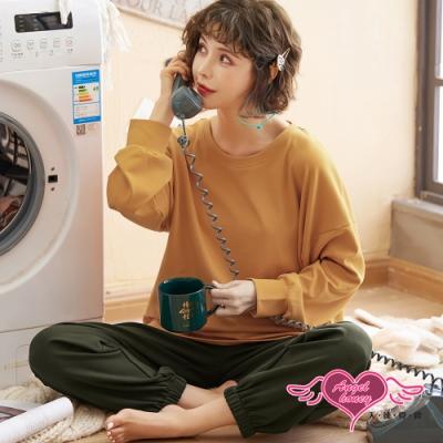 居家睡衣 恬靜斜陽 素色二件式長袖哺乳孕婦月子休閒服(橘F) AngelHoney天使霓裳