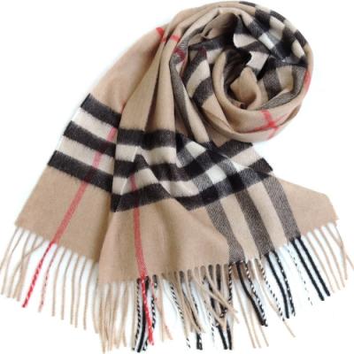 BURBERRY 經典格紋100% 喀什米爾羊毛圍巾(駝)