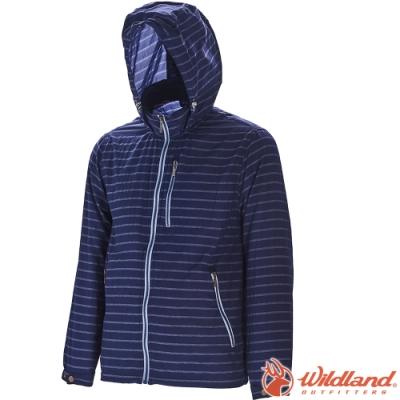 Wildland 荒野 0A71910-72深藍色 男抗UV輕薄透氣條紋外套