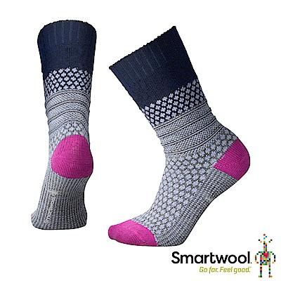 SmartWool 女 爆米花纜繩紋中長襪 藍/紫