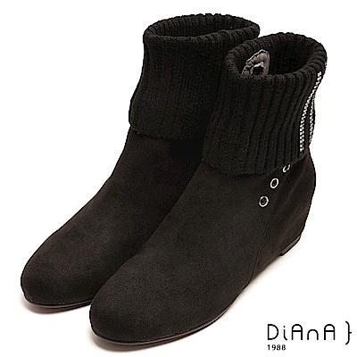 DIANA 耀眼排鑽反摺針織內增高短靴-暖心樂活-黑