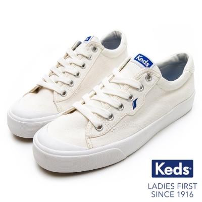 Keds CREW KICK 經典半月帆布綁帶休閒鞋-白