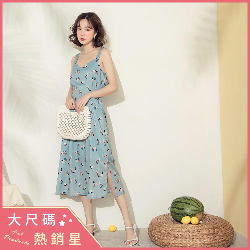 滿版印花可調式寬肩帶後綁帶側開衩長洋裝-OB大尺碼