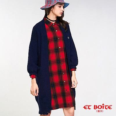 ETBOITE 箱子 BLUE WAY 精繡長版開襟針織外套