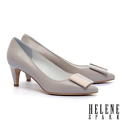 高跟鞋 HELENE SPARK 經典知性撞色方釦羊皮尖頭高跟鞋-可可