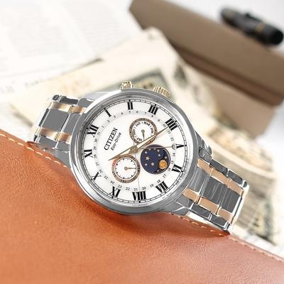 CITIZEN 光動能 月相錶 羅馬刻度 不鏽鋼手錶-銀白x鍍玫瑰金/42mm