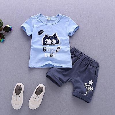JoyNa 童裝短袖襯衫可愛龍貓童褲套裝