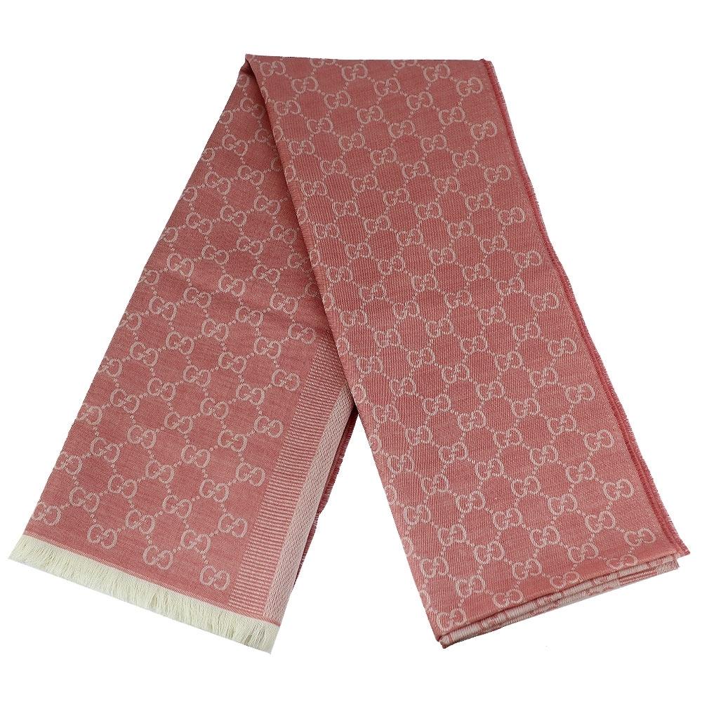 GUCCI 粉/淺粉色雙色條紋羊毛混紡長形圍巾