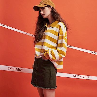 CACO-寬鬆彩條POLO衫-女【RSH029】