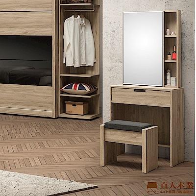 日本直人木業-LONDON北美橡木60CM化裝桌椅組
