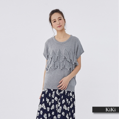 【KiKi】流蘇造型休閒-針織衫(三色)