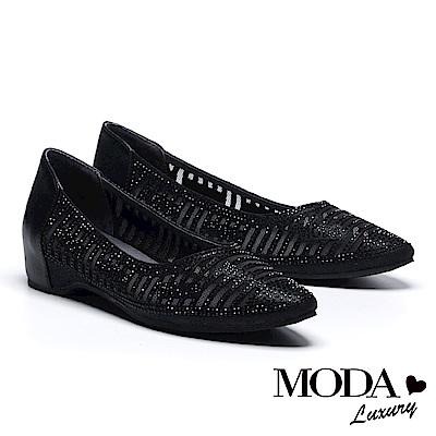 低跟鞋 MODA Luxury 閃動品味LOGO鑽拼接網布內增高低跟鞋-黑