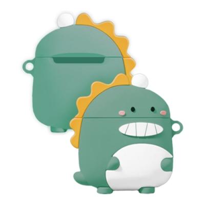 AirPods 1/2 綠豆色 芝麻眼恐龍 保護套 / 1代 2代 通用 藍牙耳機 AirPods 保護殼-芝麻眼恐龍-綠豆色*1