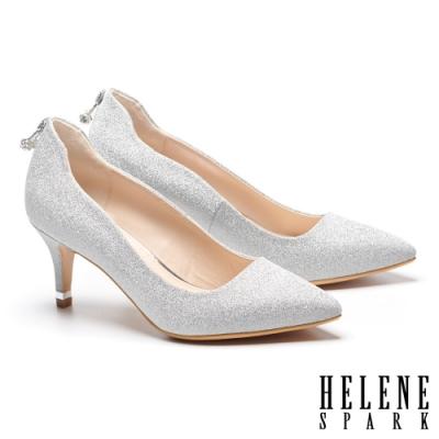 高跟鞋 HELENE SPARK 白鑽U型釦飾素面羊皮尖頭高跟鞋-銀