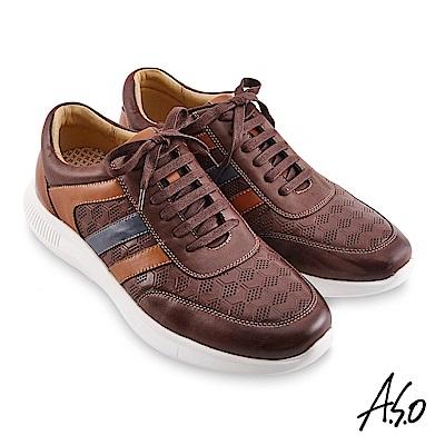 A.S.O機能休閒 3D超動能幾何壓紋綁帶休閒鞋-咖啡