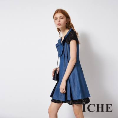 ICHE 衣哲 蕾絲牛仔八片拼接造型洋裝(兩色)-丹寧藍