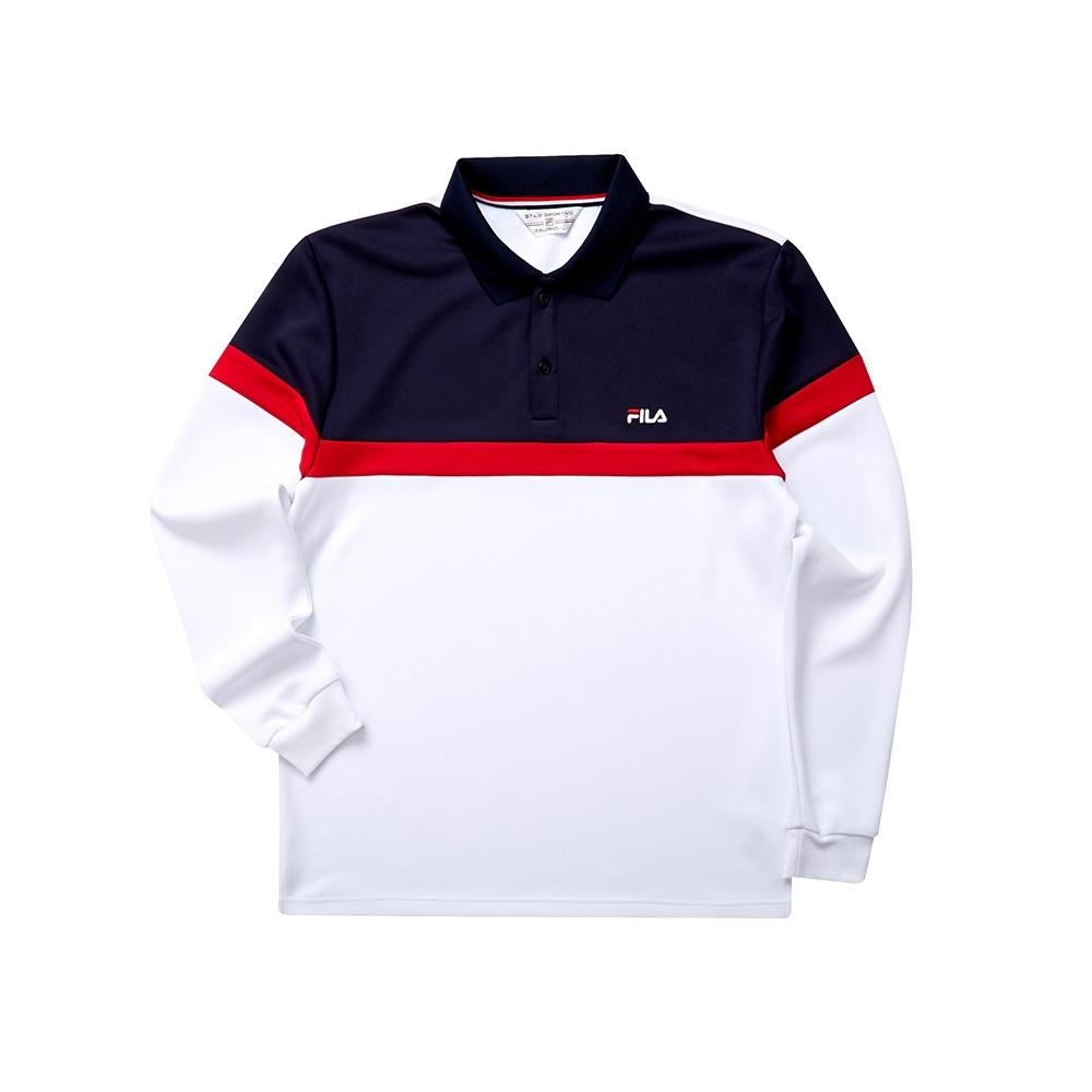 FILA 男吸濕排汗POLO衫-白色 1POT-5445-WT