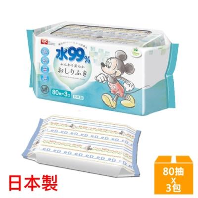 日本LEC 新款迪士尼米奇米妮-純水99%濕紙巾-80抽x3包入