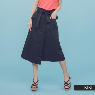 【KiKi】綁帶設計高腰-長裙(二色)