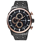 RHYTHM日本麗聲 時尚霸氣計時手錶-鍍黑/48mm