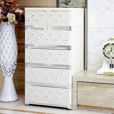 【日居良品】歐式質感立體雕花面板五層抽屜收納櫃-附鎖抽屜附活動輪