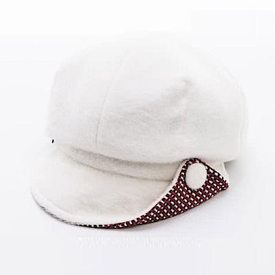 ELLE法式浪漫立體造型毛呢帽報僮帽_米白/咖