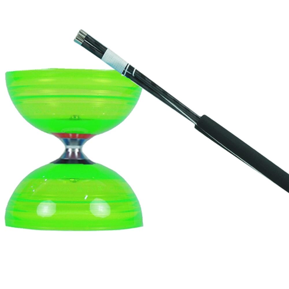 三鈴SUNDIA-台灣製造-炫風長軸三培鈴扯鈴(附31cm小碳棍、扯鈴專用繩)綠色