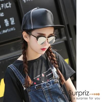 A-Surpriz 純色仿皮棒球帽(黑)