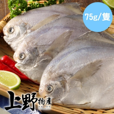 【上野物產】野生小白鯧 ( 75g土10%/隻 ) x24隻