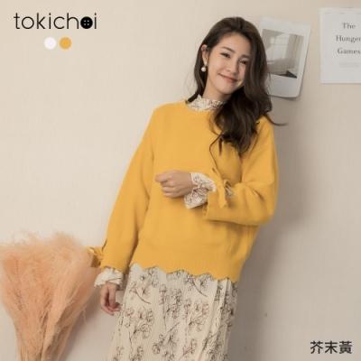 東京著衣 微糖女孩袖綁結落肩寬鬆針織毛衣(共二色)