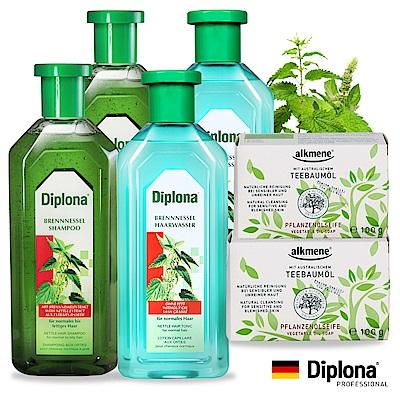 德國Diplona植萃大蕁麻養護調理2+2+2超值組(洗髮+頭皮水+香皂)