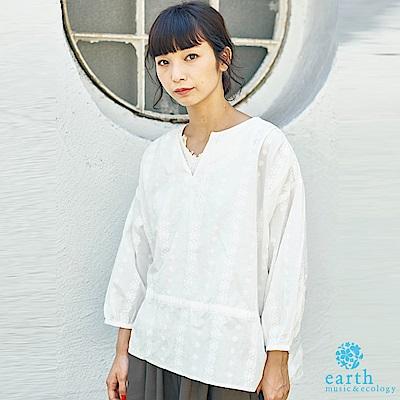 earth music 刺繡腰際抽繩棉質長袖上衣