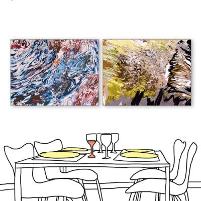 24mama掛畫-二聯式 藝術抽象 油畫風無框畫 60X80cm-青春的揮灑