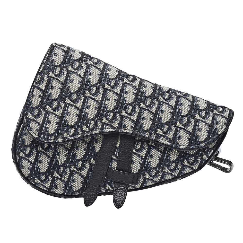 Dior 經典SADDLE系列Oblique提花帆布馬鞍包(迷你-黑)