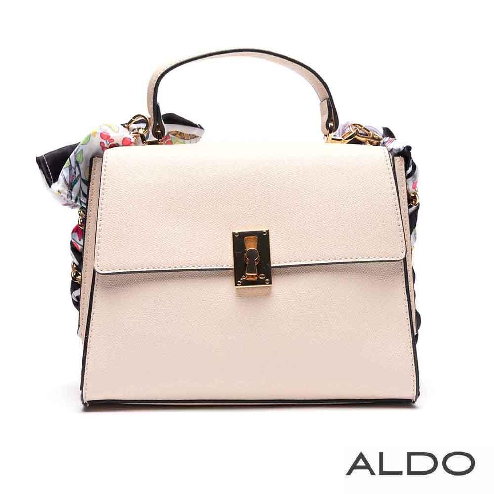 ALDO 原色寬版梯字佐絲巾鏈袋掀蓋肩揹包~優雅白色