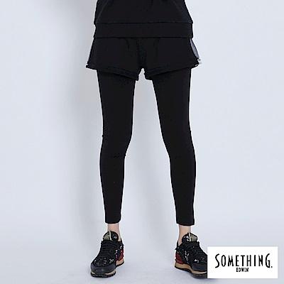 買一送一 SOMETHING LADIVA 假兩件運動X休閒牛仔內搭褲-女-黑色