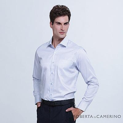 ROBERTA諾貝達 台灣製 商務型男 條紋長袖襯衫  藍色