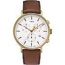 TIMEX 天美時 復刻系列 三眼計時復古手錶-白x棕色錶帶/41mm