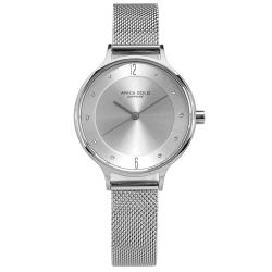 ARIES GOLD 秀氣典雅 晶鑽 藍寶石水晶玻璃 米蘭編織不鏽鋼手錶-銀色/30mm