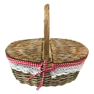 藤編野餐提籃 (橢圓掀蓋)『淺棕色』1717027
