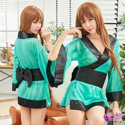 Sexy Cynthia夢幻湖水綠短版和服角色扮演服三件組- 綠F