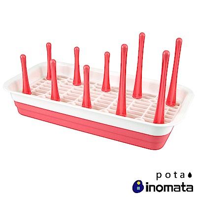 日本Inomata Pota多樣組合瀝水收納架 粉