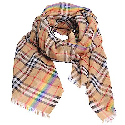BURBERRY 彩虹 Vintage格紋輕盈格紋羊毛絲綢圍巾(古典黃/220x70)