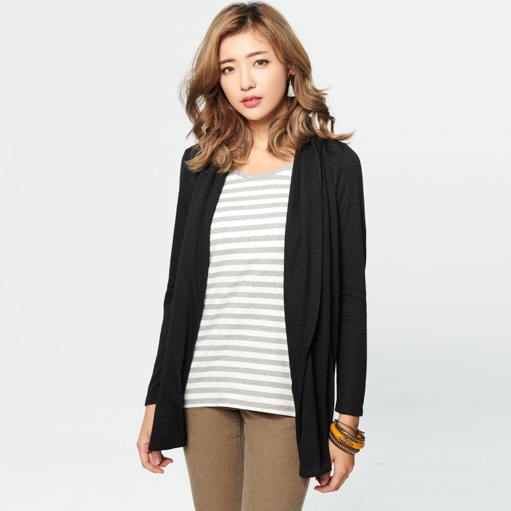 BOBSON 女款條紋羊絨假兩件式罩衫