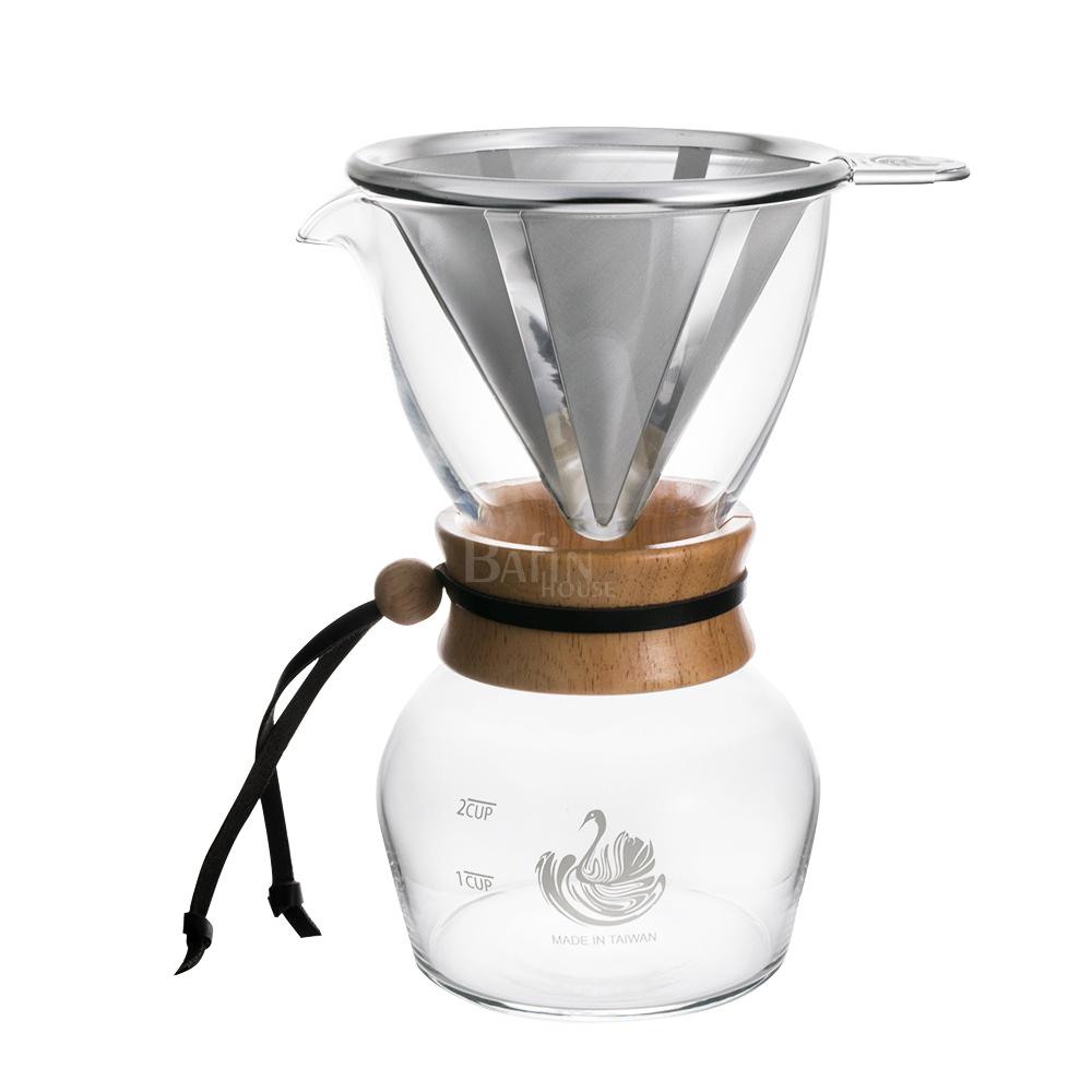 NO.1 達人咖啡 316不鏽鋼濾網 咖啡沖泡玻璃壺 2人份