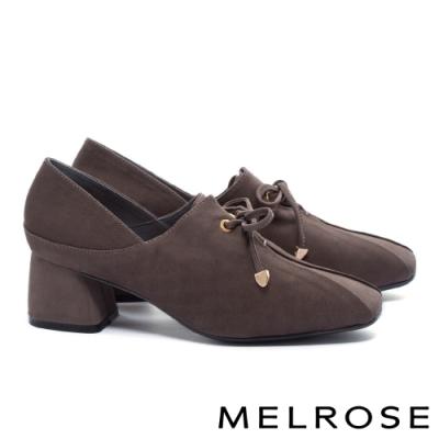 高跟鞋 MELROSE 知性復古綁帶蝴蝶結羊皮方頭粗高跟鞋-灰