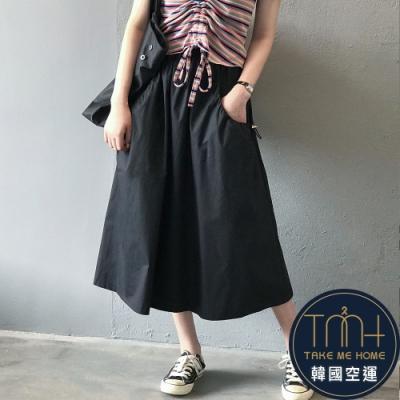 韓國空運 造型口袋大擺長裙-2色-TMH