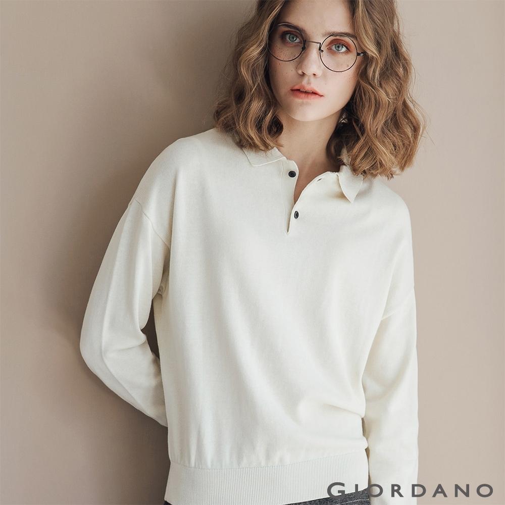 GIORDANO 女裝POLO領針織衫 - 03 蘆筍白