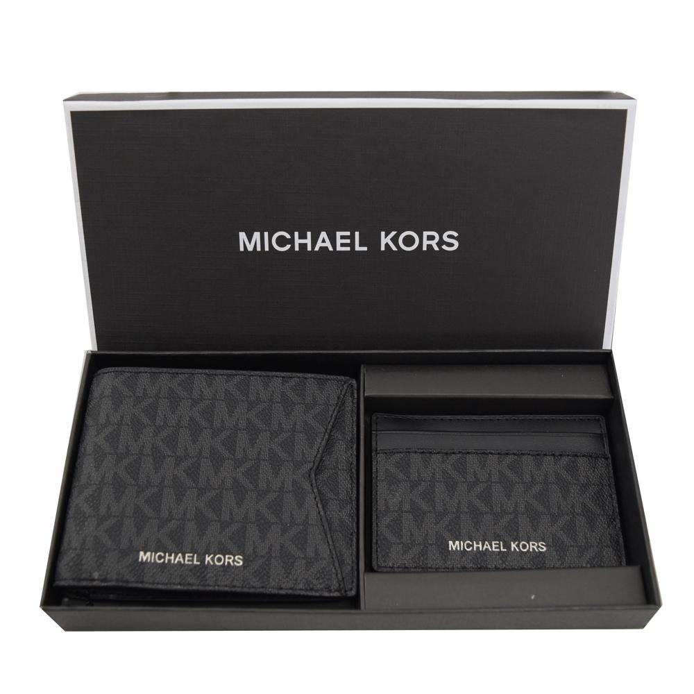 MICHAEL KORS GIFTING 經典PVC八卡對開短夾禮盒組(黑)
